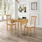 Ledbury Drop Leaf Rectangular Table with 2 Chairs in Light Oak Finish