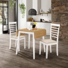 Ledbury Drop Leaf Rectangular Table with 2 Chairs in White Painted and Oak Finish
