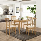 Ledbury Drop Leaf Rectangular Table with 4 Chairs in Light Oak Finish