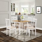 Ledbury Drop Leaf Rectangular Table with 4 Chairs in White Painted and Oak Finish