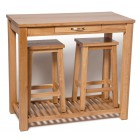 Camberley Oak Breakfast Set Table with Two Stools