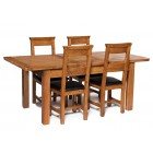 London Rustic Oak Extending Dining Table with Four Chairs