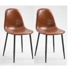 Pair of PU Leather Chair with Metal Legs