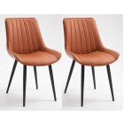 Pair of Deluxe PU Leather Chair with Metal Legs