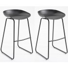 Pair of Metal Bar Stools with Black Seat