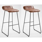 Pair of Metal Bar Stool with PU Leather Seat