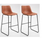 Pair of Deluxe Metal Bar Stool PU Leather Seat