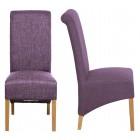 Roll Top Soft Purple Fabric Dining Chair (Pair)