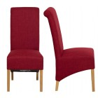 Roll Top Rouge Fabric Dining Chair (Pair)