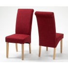 Roll Top Rouge Fabric Dining Chair (KD, Pair)