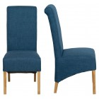 Roll Top Blue Fabric Dining Chair (Pair)