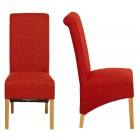 Roll Top Terracotta Fabric Dining Chair (Pair)