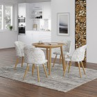 Ledbury Round Table with 4 Fabric Chair in Crushed Velvet