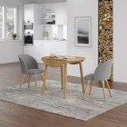 Ledbury Round Table with 2 Fabric Chair in Light Grey
