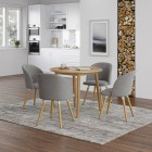 Ledbury Round Table with 4 Fabric Chair in Light GREY