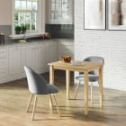 Ledbury Small Table with 2 Fabric Chair in Light Grey