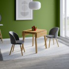Ledbury Drop Leaf Table with 2 Fabric Chair in Light Grey
