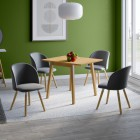 Ledbury Drop Leaf Table with 4 Fabric Chair in Light Grey