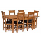 London Rustic Oak Extending Dining Table with Six Chairs