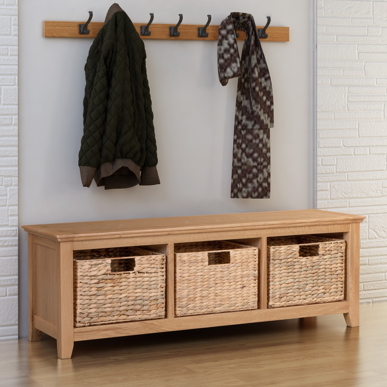 Small Oak Hallway Shoe Storage Bench Wooden Hallway Organiser Cabinet Stand 5055661819282 Ebay