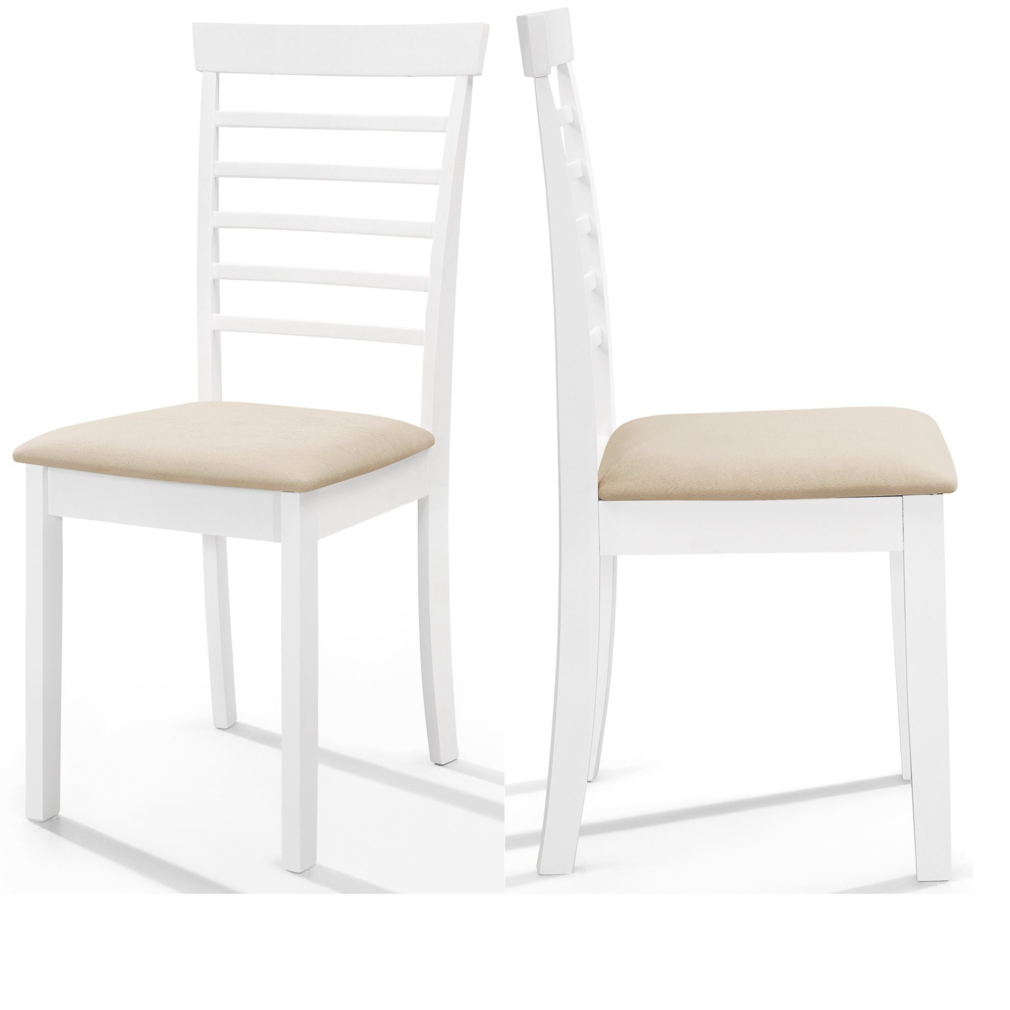 Details about 9 x White Painted Wood Dining Chairs  Wooden Slate Back  Kitchen Seat Pair