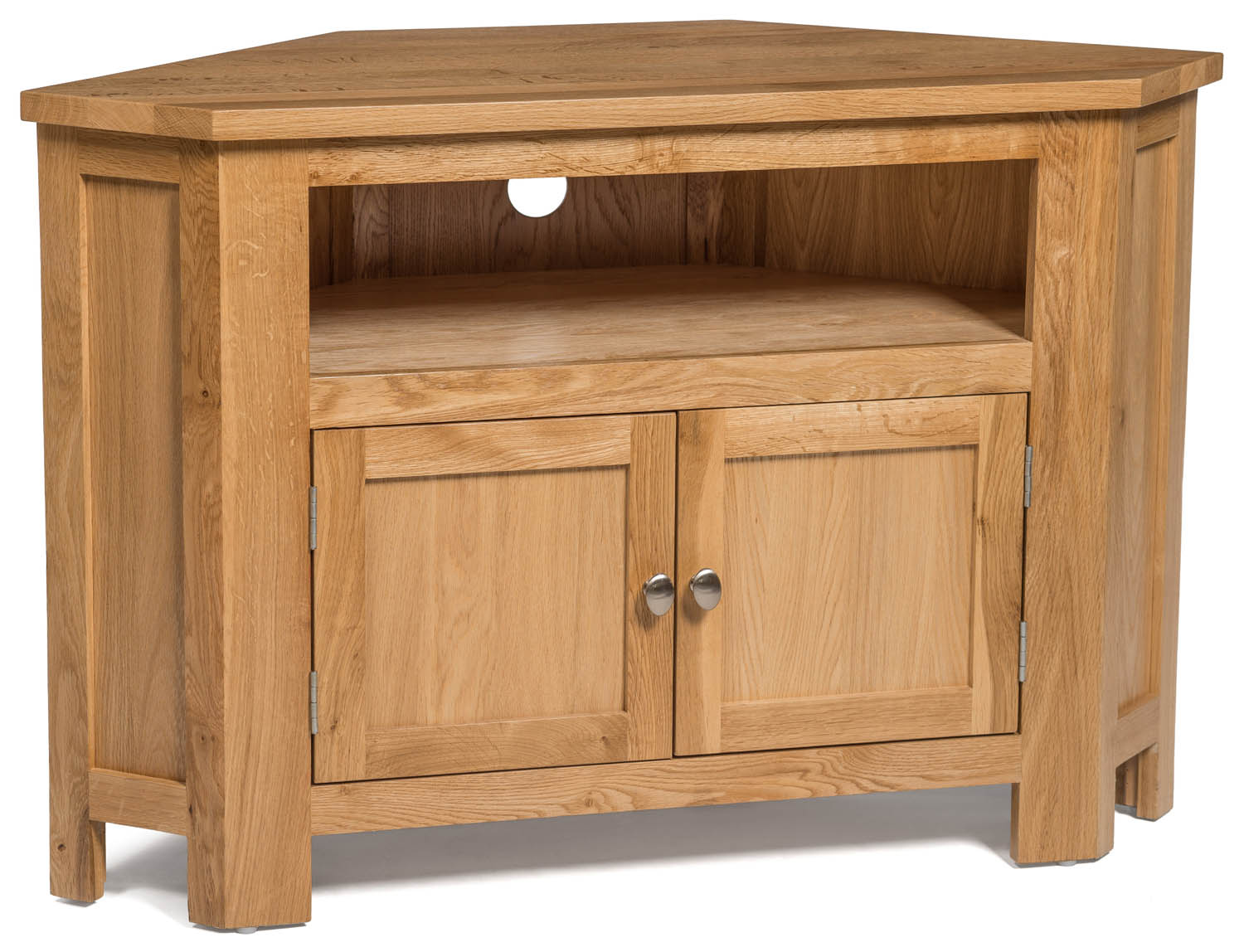 Small Oak Corner TV Stand | Media Cabinet | Entertainment ...