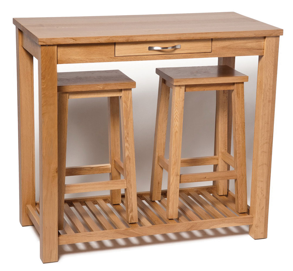 Oak Breakfast Bar Table And Stools Set Wooden Kitchen Dining Table 2 Stools 5055661803113 Ebay
