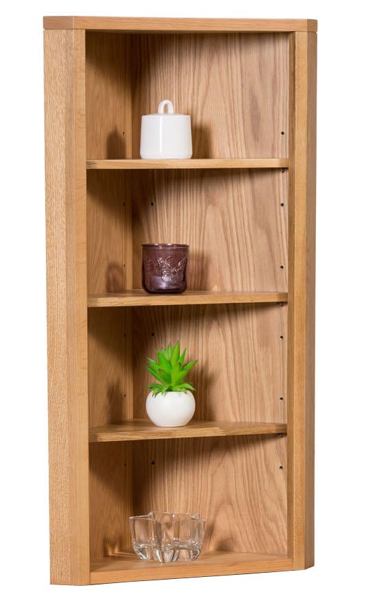 Small oak corner open storage top low cabinet with shelf solid wood unit ebay - Small corner shelf unit wood ...