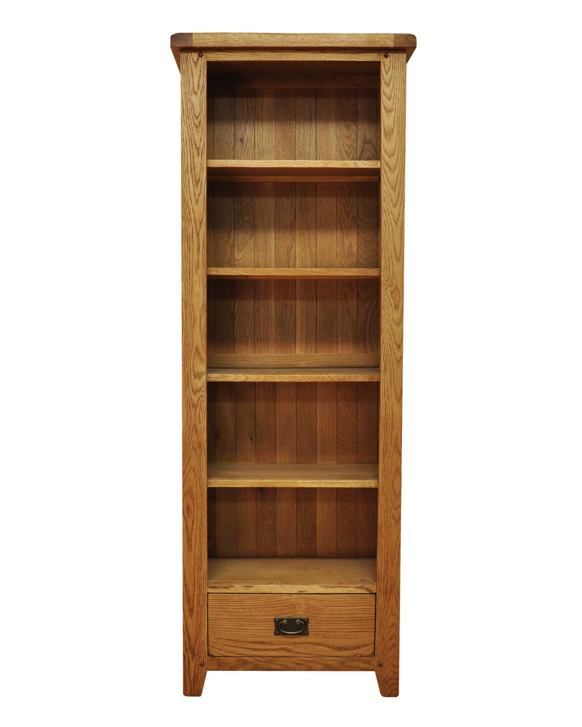 Large Wooden Bookcases ~ Large narrow oak bookcase waxed shelf storage
