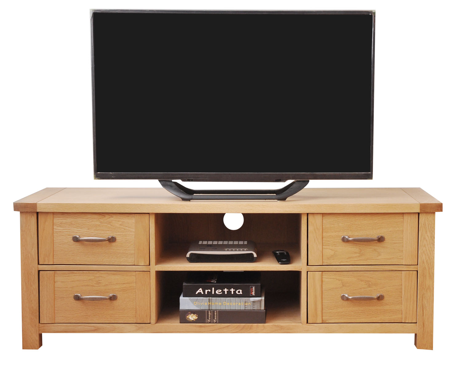Large Oak TV Stand Wooden Media Cabinet Entertainment