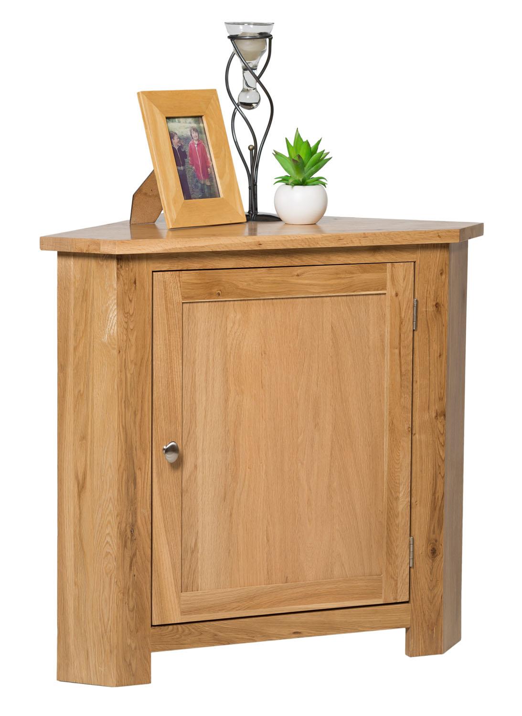 Small Oak Corner Storage Cupboard Low Cabinet With Shelf Solid Wood Unit Ebay Units