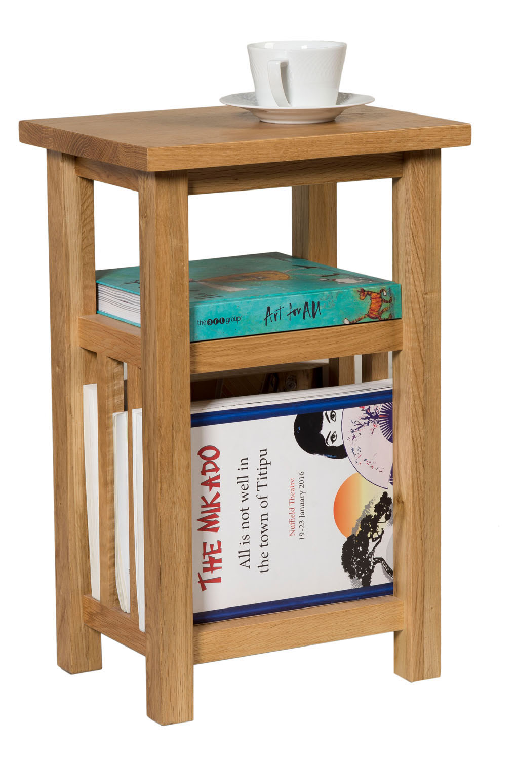 Small oak magazine rack side table wooden coffee lamp