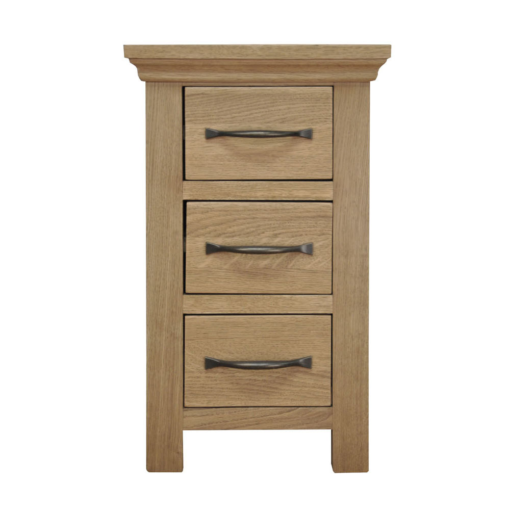 Oak Narrow 3 Drawer Bedside Cabinet : Small Wooden Side End Lamp Nightstand : eBay