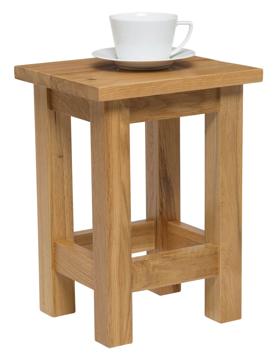 Small oak side table solid wood slim occasional coffee for Small wood end table