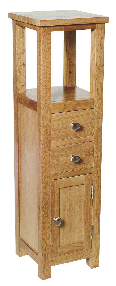 Slim Oak Corner Cabinet Small Wooden Bathroom Cupboard