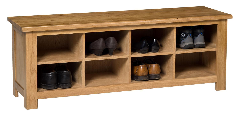 large oak shoe storage bench wooden hallway organiser. Black Bedroom Furniture Sets. Home Design Ideas