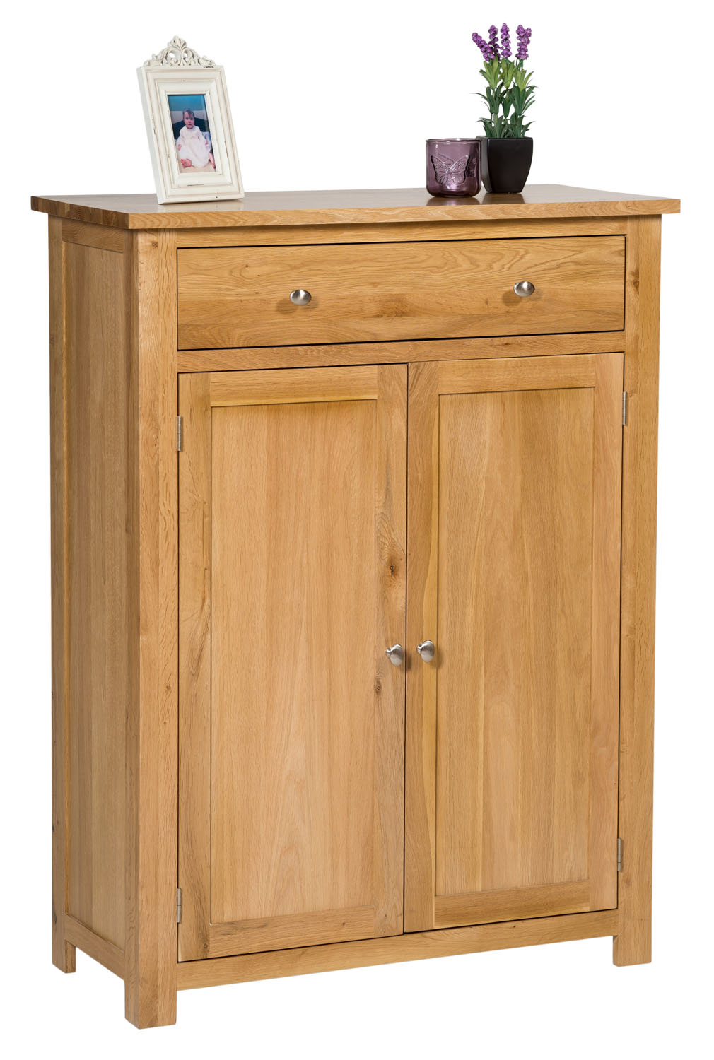 Large oak shoe storage cabinet wooden hallway cupboard