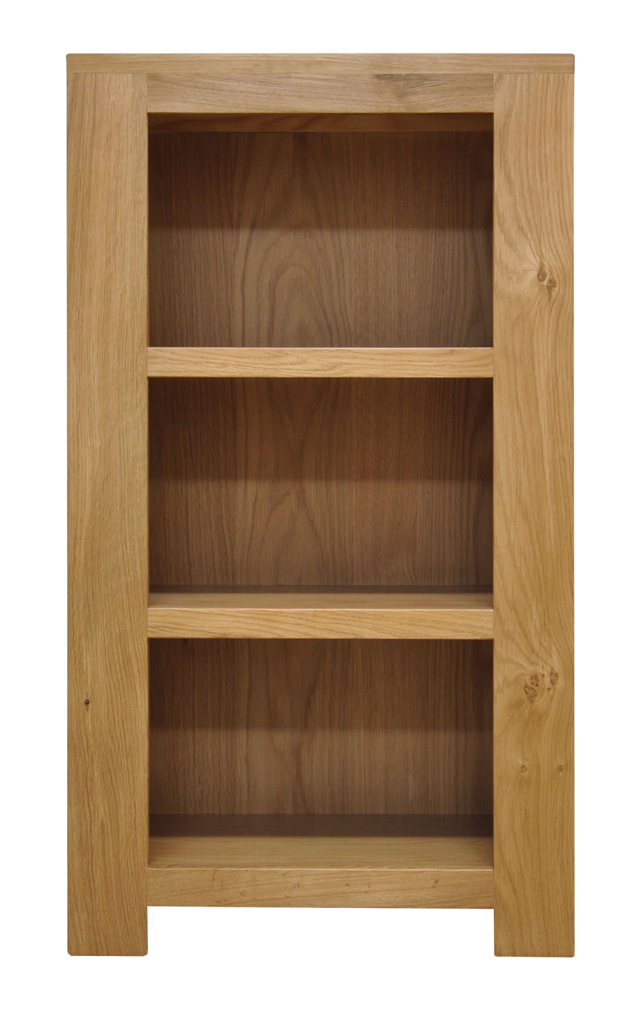 Small Oak Bookcase Narrow Storage Low Bookshelf Wooden