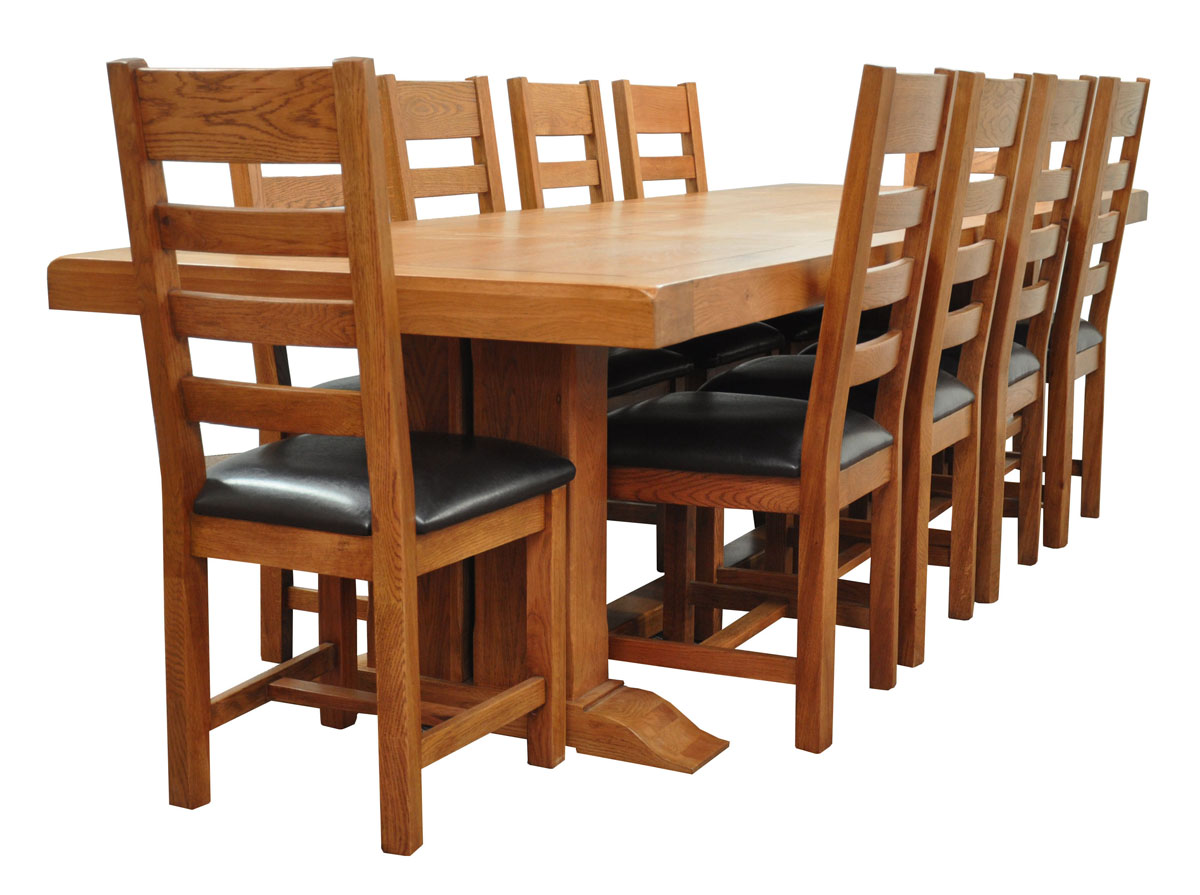 Extra Large Oak Refectory Dining Table Light Oak 12 Seater