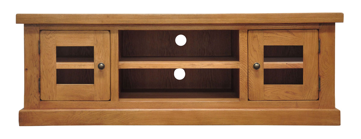 Large Oak 2 Door TV Cabinet Light Oak