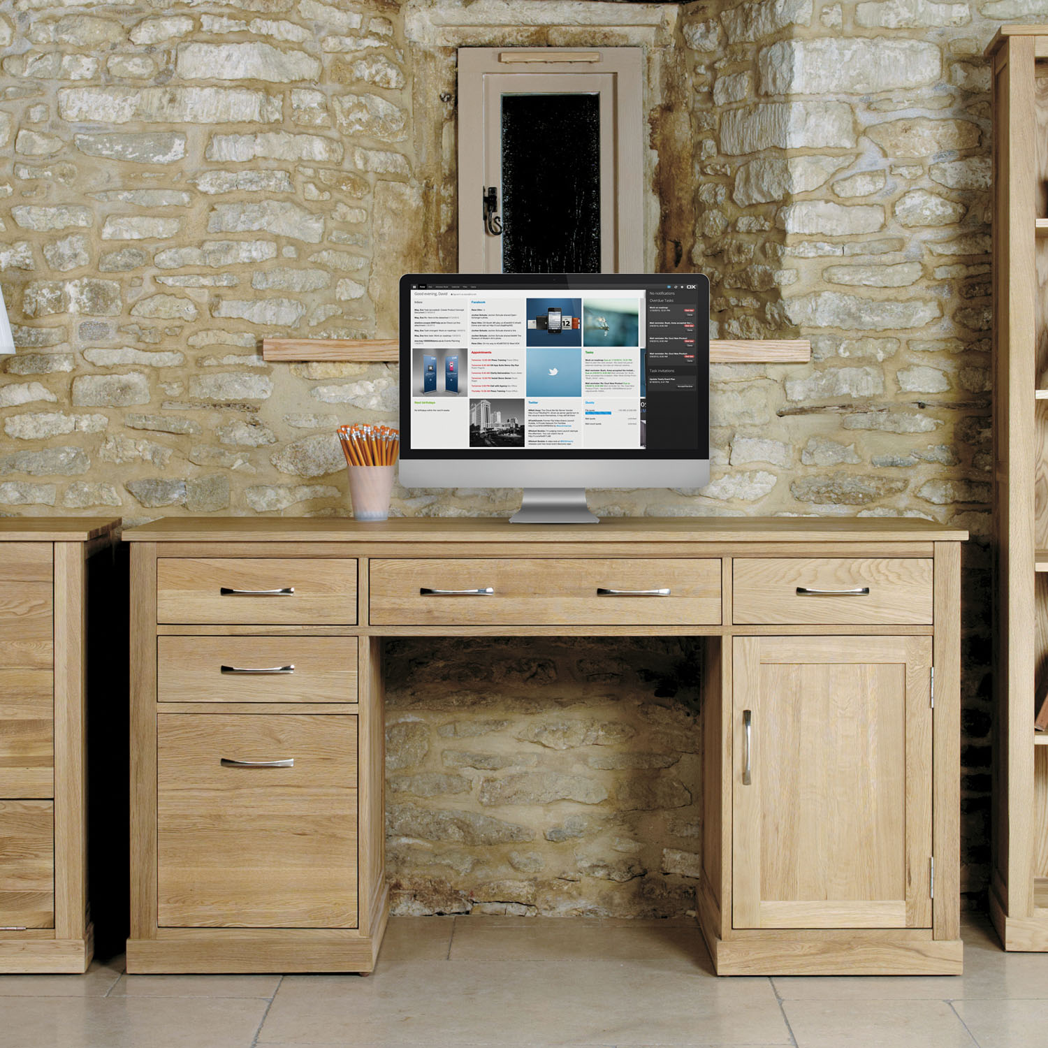 details about mobel solid oak 2 door 4 drawer double pedestal computer desk wooden storage