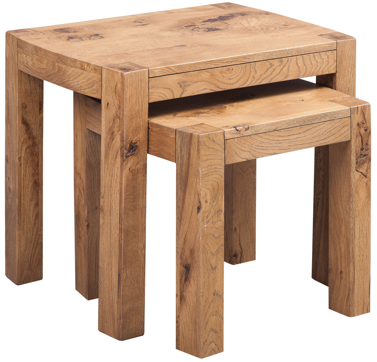 Details about distressed oak nest of 2 tables solid oak occasional coffee table set