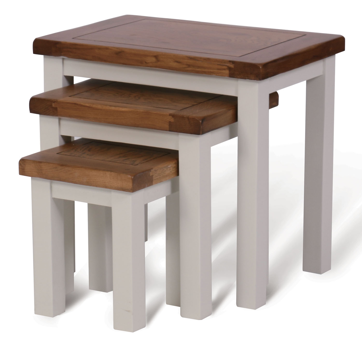 White painted oak nest of 3 coffee tables wooden side for White nesting coffee table