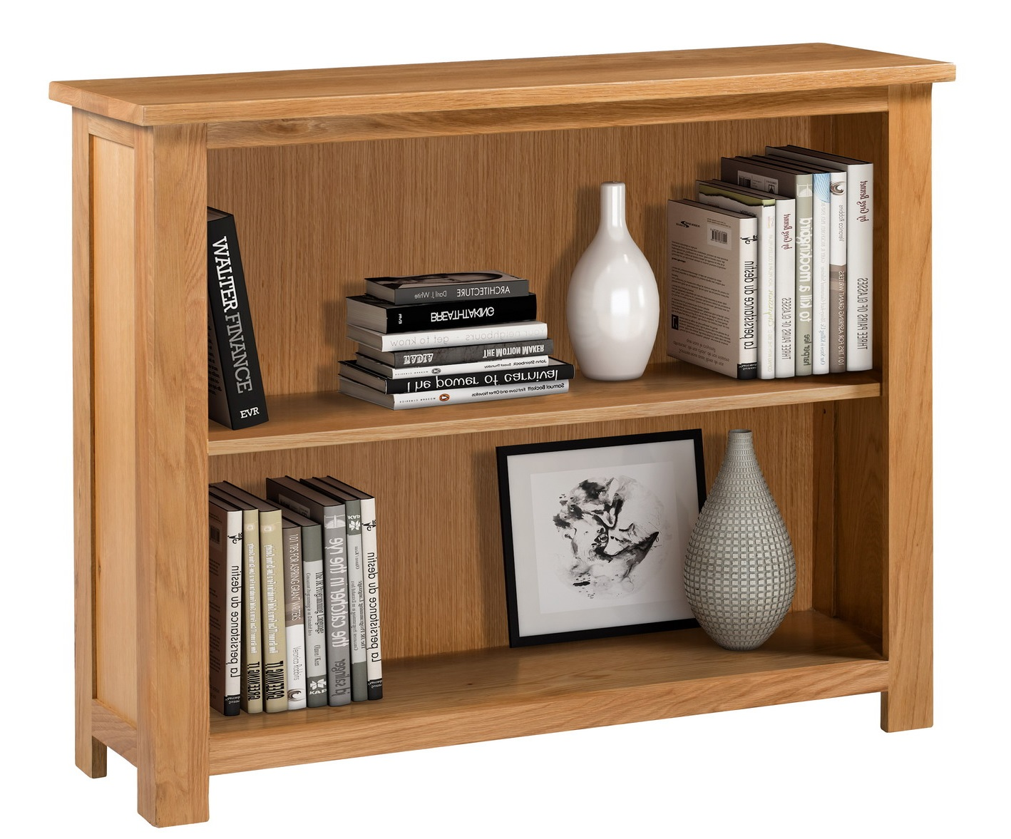 Details About Wide And Low Oak Bookcase Wooden Storage Bookshelf Solid Wood Shelving Unit