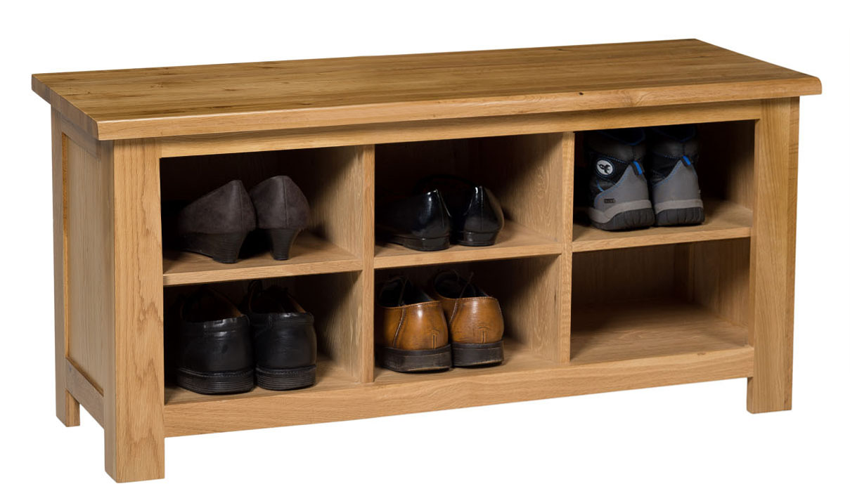 Small Oak Shoe Storage Bench Wooden Hallway Organiser