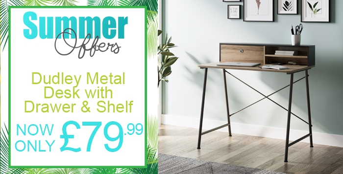 metal desk with drawer and shelf