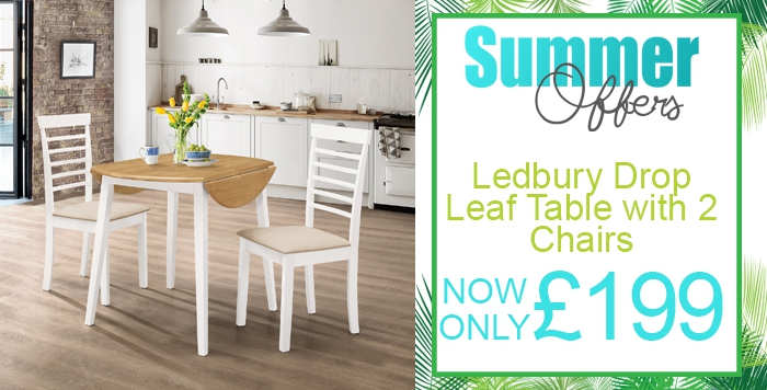 ledbury drop-leaf round table set with two chairs in white painted finish