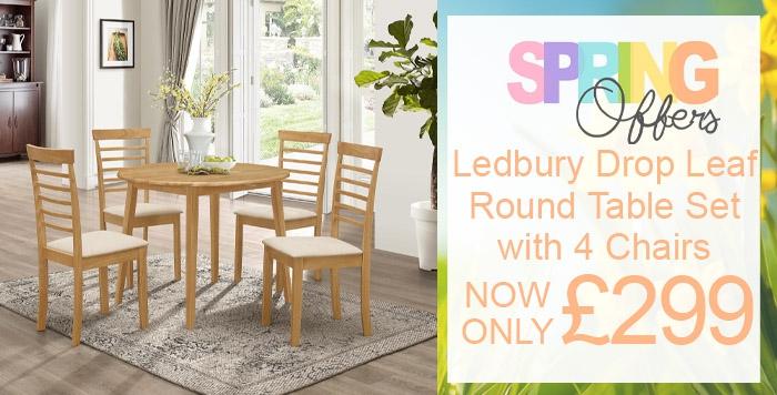 ledbury drop leaf table with four chairs