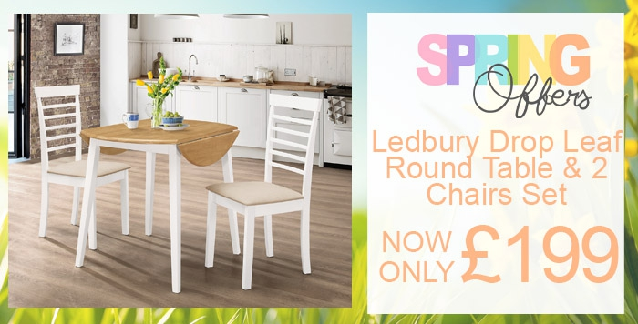 ledbury drop leaf table with two chairs