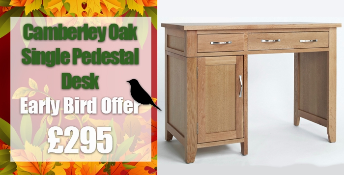 camberley oak single pedestal computer desk
